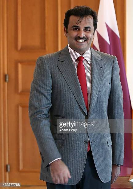 Sheikh Tamim bin Hamad Al Thani the eighth and current Emir of the State of Qatar arrives to meet with German President Joachim Gauck at Bellevue...