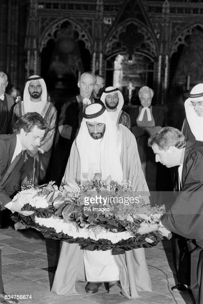 Sheikh Zayed bin Sultan AlNahayan lays a wreath at the tomb of the unknown warrior at Westminster Abbeyat the start of his official fourday visit to...