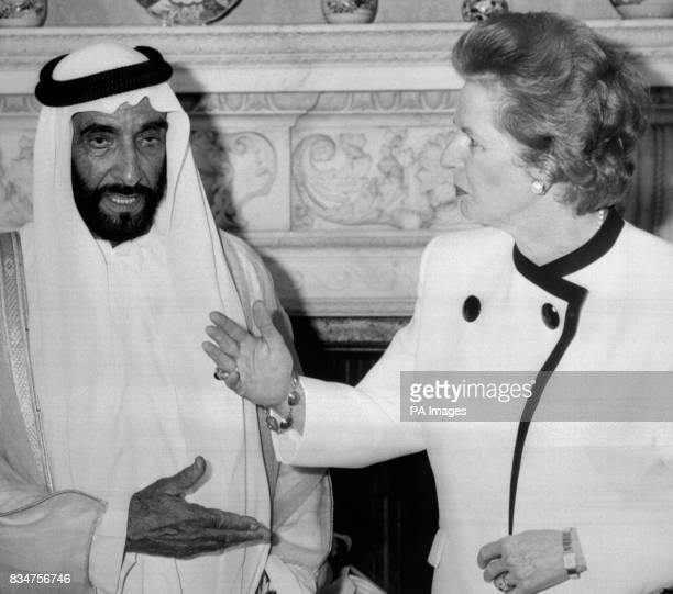 Sheikh Zayed bin Sultan AlNahayan with Margaret Thatcher exchange hand signals at 10 Downing Street The President is on a fourday official visit to...