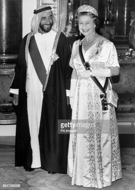 Sheikh Zayed bin Sultan AlNahayan with Queen Elizabeth II in the Music Room at Buckingham Palace The President is on a fourday visit to Britain