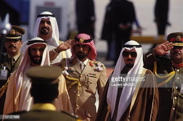 Sheikh Zayed bin Sultan alNahyan of Abu Dhabi on the left Emir of Kuwait Sheikh Jaber alAhmad alJaber alSabah on the right in Kuwait City Kuwait on...