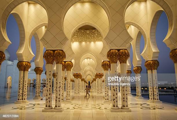 Sheikh Zayed Grand Mosque is seen in Abu Dhabi United Arab Emirates on January 22 2015 Abu Dhabi's iconic landmark is the Sheikh Zayed Grand Mosque...