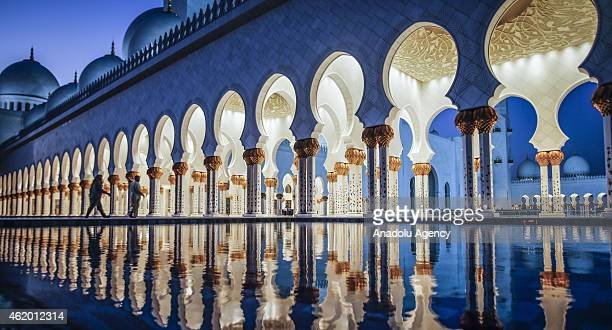 Sheikh Zayed Grand Mosque is seen in Abu Dhabi United Arab Emirates on January 22 2015 Abu Dhabi's iconic landmark is the Sheikh Zayed Grand Mosque...