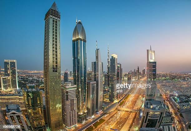 Sheikh Zayed Road with Dubai Skyline, UAE