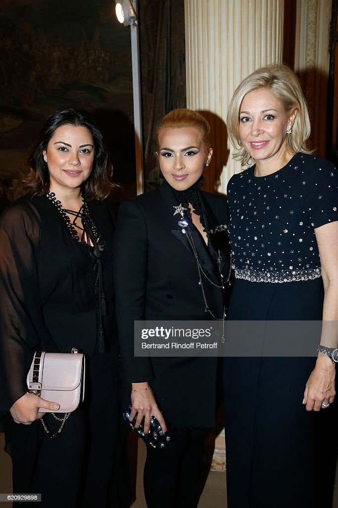 Sheikha Aisha Al Thani, Marketing Manager at 'Place Vendome Qatar', Carol Sabbagha and CEO of Swarovski UK Ltd, Nadja Swarovski attend the Vogue Fashion Festival at Hotel Potocki on November 3, 2016 in Paris, France.