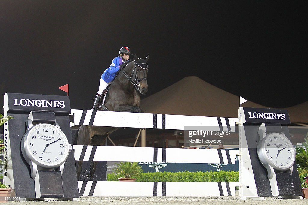 Sheikha Latifa bint Ahmed Al Maktoum of the United Arab Emirates rides Peanuts De Beaufour during the President of the UAE Showjumping Cup - Furusiyyah Nations Cup Series presented by Longines on February 23, 2013 in Al Ain, United Arab Emirates.