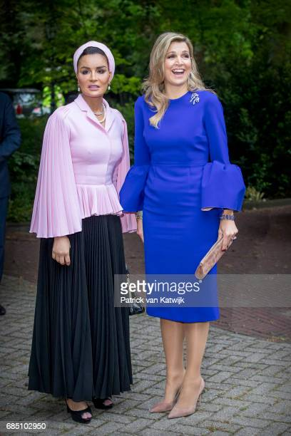Sheikha Moza bint Nasser of Qatar and Queen Maxima of The Netherlands attend the Seminar On Protection Education In Conflict Zones at the The Hague...