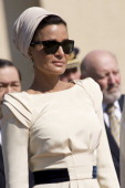Sheikha Mozah Bint Nasser bids farewell after meeting Queen Sofia of Spain and King Juan Carlos I of Spain at El Pardo Palace on April 27 2011 in...