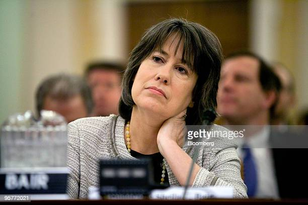 Sheila Bair chairman of the US Federal Deposit Insurance Corp testifies before the Financial Crisis Inquiry Commission in Washington DC US on...