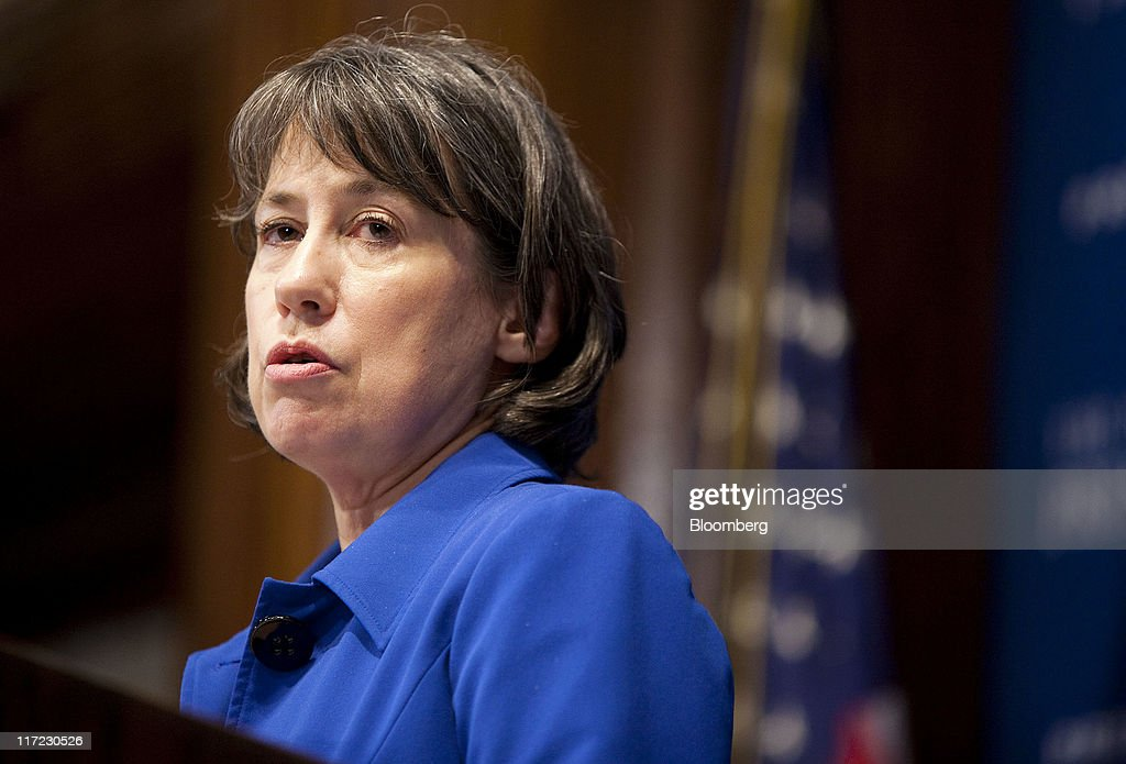 <a gi-track='captionPersonalityLinkClicked' href=/galleries/search?phrase=Sheila+Bair&family=editorial&specificpeople=4688223 ng-click='$event.stopPropagation()'>Sheila Bair</a>, chairman of the U.S. Federal Deposit Insurance Corp., speaks at the National Press Club in Washington, D.C., U.S., on Friday, June 24, 2011. Bair said banks will be able to meet higher capital standards with retained earnings and have 'plenty of capacity to lend.' Photographer: Joshua Roberts/Bloomberg via Getty Images