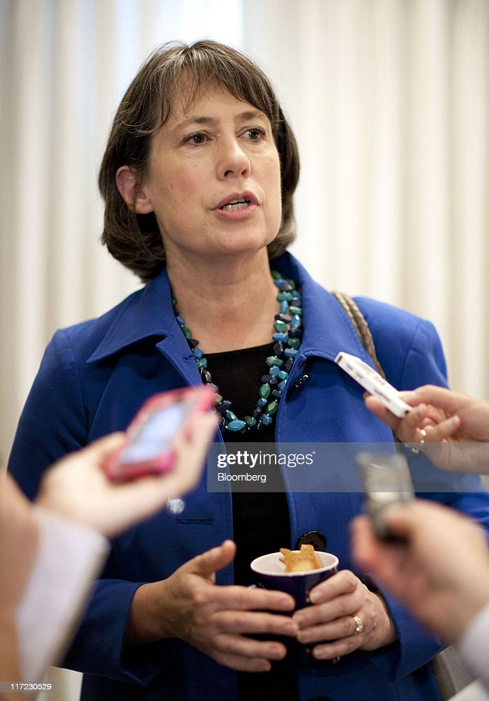 <a gi-track='captionPersonalityLinkClicked' href=/galleries/search?phrase=Sheila+Bair&family=editorial&specificpeople=4688223 ng-click='$event.stopPropagation()'>Sheila Bair</a>, chairman of the U.S. Federal Deposit Insurance Corp., speaks with reporters following a speech at the National Press Club in Washington, D.C., U.S., on Friday, June 24, 2011. Bair said banks will be able to meet higher capital standards with retained earnings and have 'plenty of capacity to lend.' Photographer: Joshua Roberts/Bloomberg via Getty Images