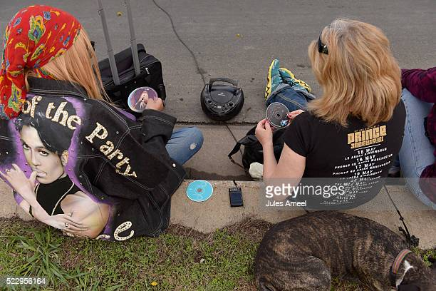 Sheila Clayton left and Anna Horn listen to their collection of Prince CD's on their boombox outside of Paisley Park on April 21 2016 in Chanhassen...