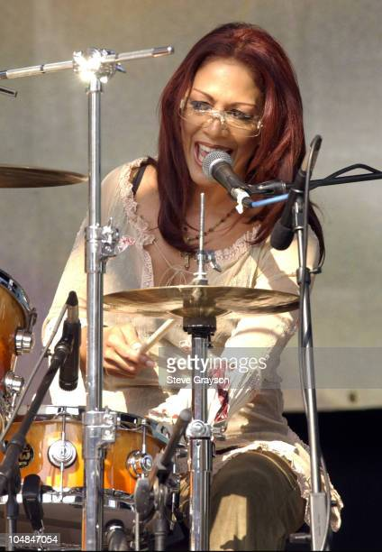 Sheila E during '947 The Wave' LA 2002 Concert at Los Angeles Tennis Center in Los Angeles California United States
