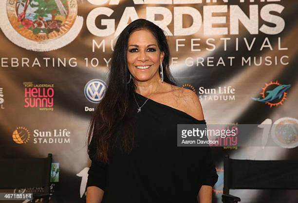 Sheila E is interviewed at the 10th Annual Jazz in The Gardens Celebrating 10 Years of Great Music at Sun Life Stadium on March 21 2015 in Miami...