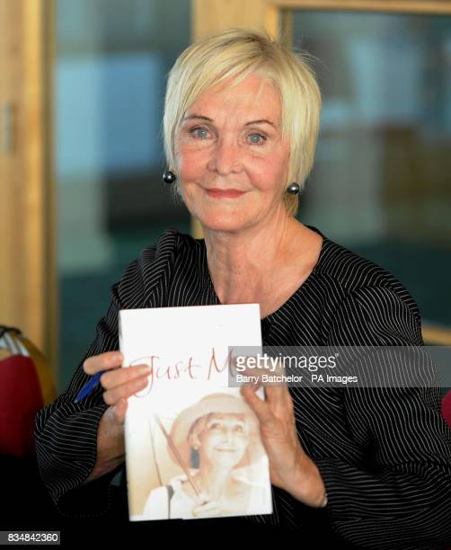 Sheila Hancock holds her book Just Me after speaking at Cheltenham Literature Festival 08