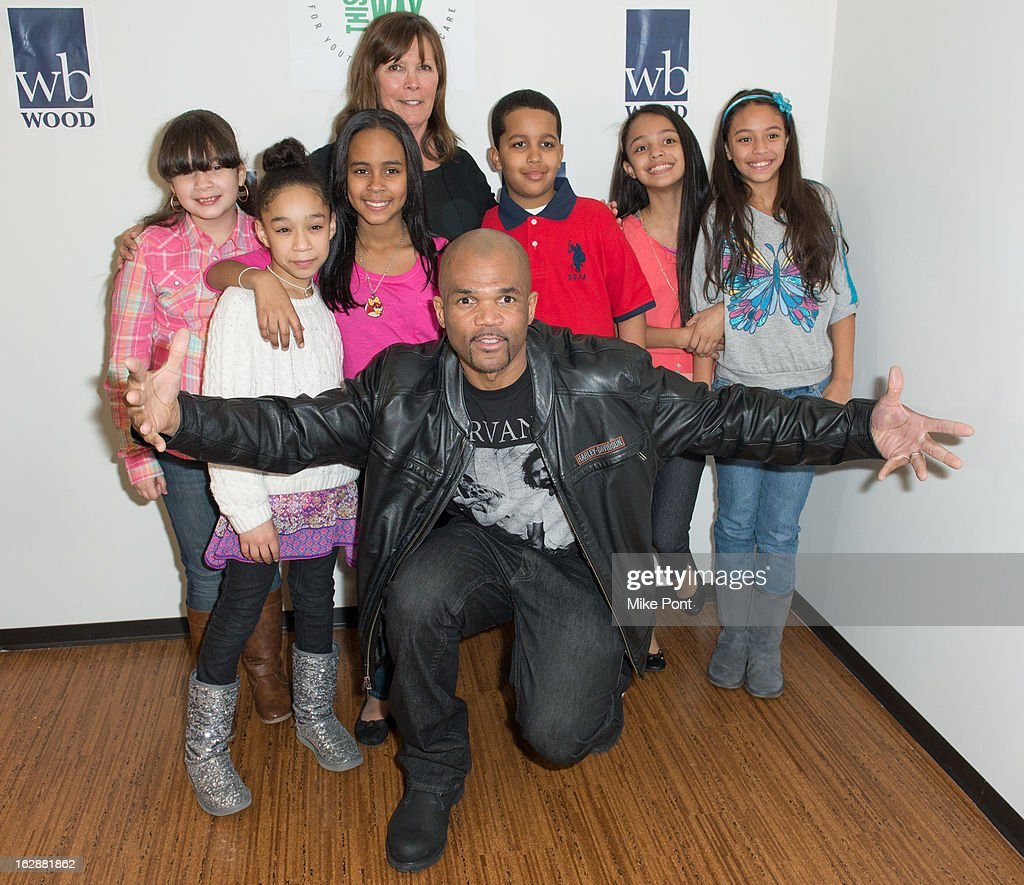 Sheila Jaffe (Back) and Rapper Darryl DMC McDaniels (Front) and The Felix Kids attend the Dance This Way launch party at WB Wood on February 28, 2013 in New York City.