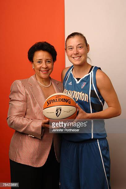 Sheila Johnson President of the Washington Mystics poses for a portrait with Laurie Koehn after she won the 3 Point Shootout prior to the 2007 WNBA...