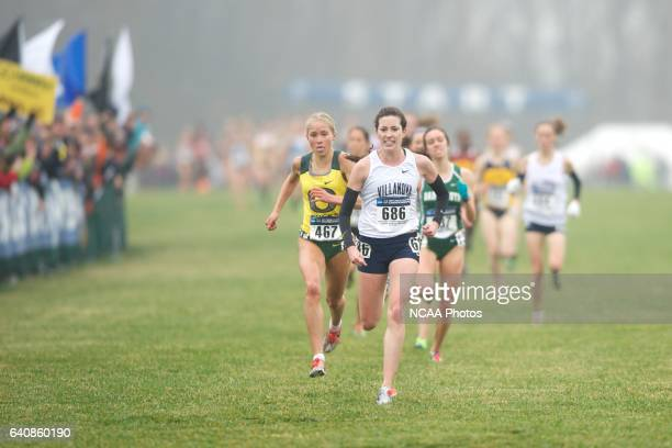 Sheila Reid of Villanova University narrowly edges Jordan Hasay of the University of Oregon during the Division I Women's Cross Country Championship...