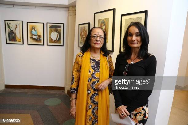 Sheila Thadani and Ildiko MorovszkiHalasz during an exhibition to celebrate the legacy of iconic artist Amrita SherGil and works by Hungarian artist...