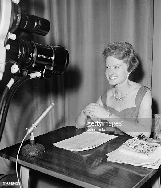 Sheila Tracy in front of TV cameras at the Radio Show where she is working as announcer and interviewer Earls Court London 24th August 1961 She is...
