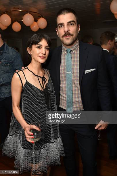 Sheila Vand and Zachary Quinto attend the 2017 Tribeca Film Festival After Party For Aardvark At La Sirena at La Sirena on April 21 2017 in New York...
