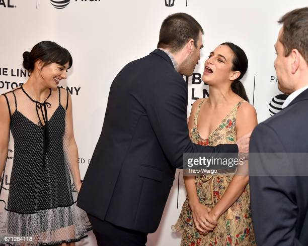Sheila Vand Zachary Quinto and Jenny Slate attend the 'Aardvark' Premiere during 2017 Tribeca Film Festival at SVA Theatre on April 21 2017 in New...
