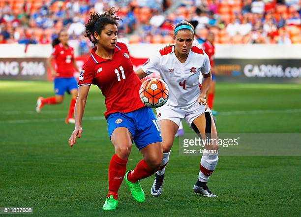 Sheilina Zadorsky of Canada battles for the ball with Raquel Rodriguez of Costa Rica during the Semifinal of the 2016 CONCACAF Women's Olympic...