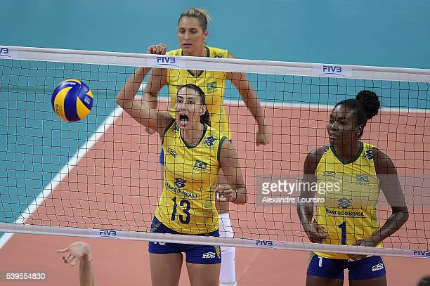 Sheilla and Fabiana of Brazil reacts during the match between Brazil and Serbia on day 3 the FIVB Volleyball World Grand Prix at Carioca Arena 1 on...