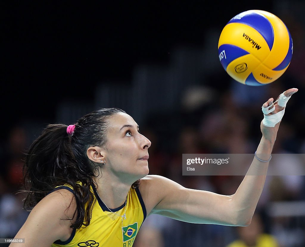 Sheilla Castro #13 of Brazil serves to Korea in the second set during Women's Volleyball on Day 5 of the London 2012 Olympic Games at Earls Court on August 1, 2012 in London, England.