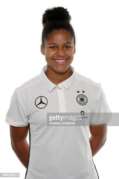 Shekiera Martinez poses during Germany U17 Girl's Team Presentation on August 20 2017 in Gruenberg Germany