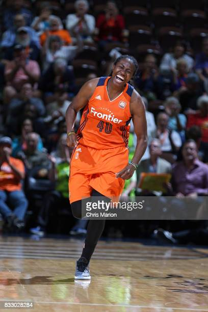 Shekinna Stricklen of the Connecticut Sun reacts to a play against the Dallas Wings on August 12 2017 at Mohegan Sun Arena in Uncasville CT NOTE TO...