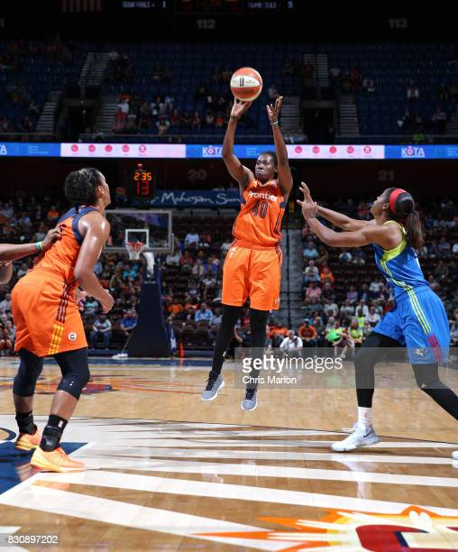 Shekinna Stricklen of the Connecticut Sun shoots the ball against the Dallas Wings on August 12 2017 at Mohegan Sun Arena in Uncasville CT NOTE TO...