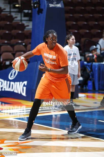 Shekinna Stricklen of the Connecticut Sun warms up before the game against the Dallas Wings on August 12 2017 at Mohegan Sun Arena in Uncasville CT...