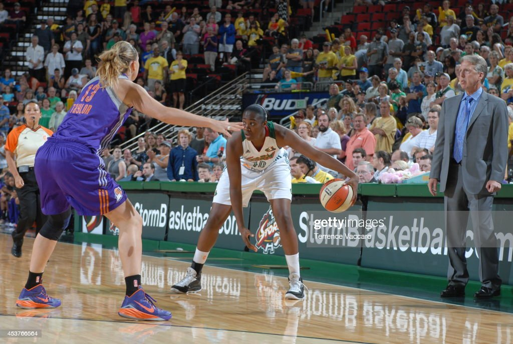 Shekinna Stricklen #40 of the Seattle Storm handles the ball against Penny Taylor #13 of the Phoenix Mercury during the game on August 17, 2014 at Key Arena in Seattle, Washington.