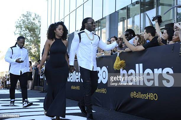 Shelah Marie and Rapper Ace Hood attend the HBO Ballers Season 2 Red Carpet Premiere and Reception on July 14 2016 at New World Symphony in Miami...