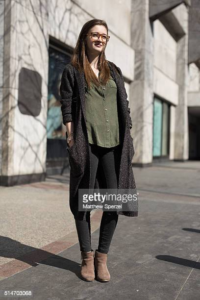 Shelby Lingeman is seen on Michigan Ave wearing Urban Outfitters glasses dark wool blend Forever 21 coat olive green Nordstrom Rack shirt black JCrew...