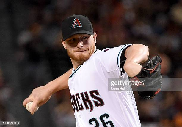 Shelby Miller of the Arizona Diamondbacks delivers a pitch during the first inning against the San Francisco Giants at Chase Field on July 1 2016 in...