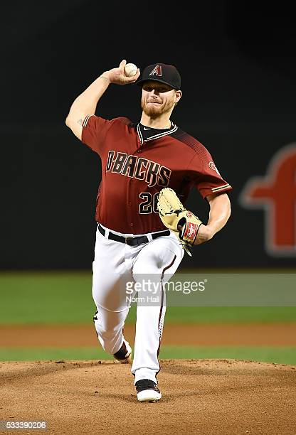 Shelby Miller of the Arizona Diamondbacks delivers a warm up pitch against the New York Yankees at Chase Field on May 18 2016 in Phoenix Arizona