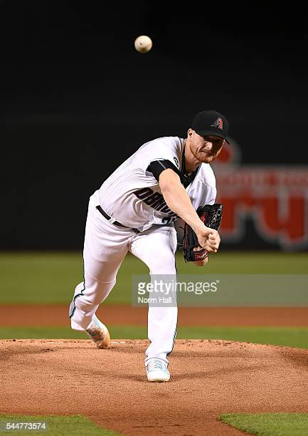 Shelby Miller of the Arizona Diamondbacks delivers a warm up pitch against the San Francisco Giants at Chase Field on July 1 2016 in Phoenix Arizona