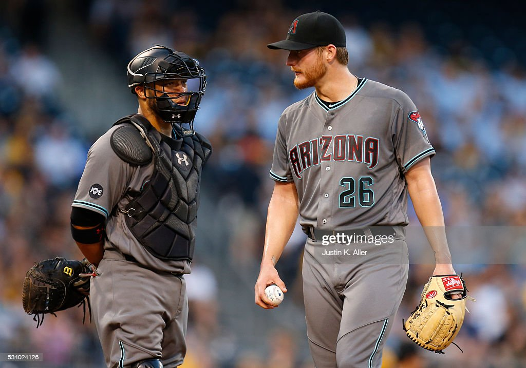 <a gi-track='captionPersonalityLinkClicked' href=/galleries/search?phrase=Shelby+Miller&family=editorial&specificpeople=4761626 ng-click='$event.stopPropagation()'>Shelby Miller</a> #26 of the Arizona Diamondbacks reacts after giving up a two-run double in the third inning during the game against the Pittsburgh Pirates at PNC Park on May 24, 2016 in Pittsburgh, Pennsylvania.