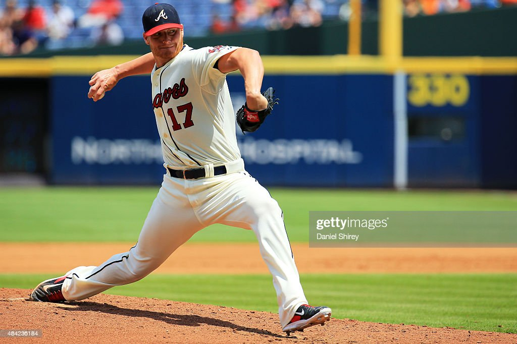 <a gi-track='captionPersonalityLinkClicked' href=/galleries/search?phrase=Shelby+Miller&family=editorial&specificpeople=4761626 ng-click='$event.stopPropagation()'>Shelby Miller</a> #17 of the Atlanta Braves pitches in the third inning against the Arizona Diamondbacks at Turner Field on August 16, 2015 in Atlanta, Georgia.
