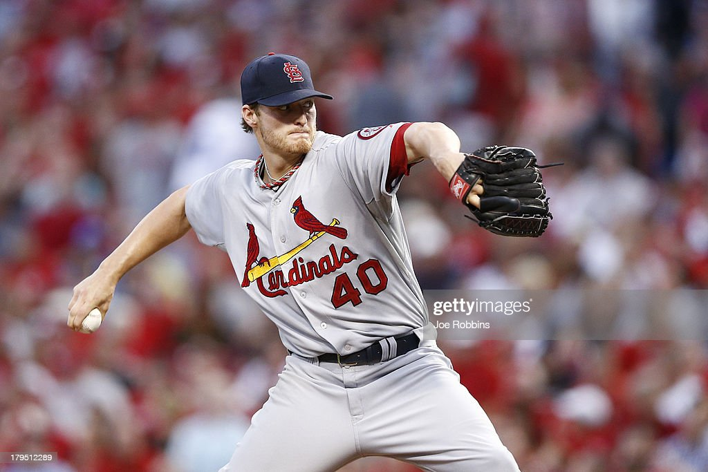 <a gi-track='captionPersonalityLinkClicked' href=/galleries/search?phrase=Shelby+Miller&family=editorial&specificpeople=4761626 ng-click='$event.stopPropagation()'>Shelby Miller</a> #40 of the St. Louis Cardinals pitches against the Cincinnati Reds during the game at Great American Ball Park on September 4, 2013 in Cincinnati, Ohio.