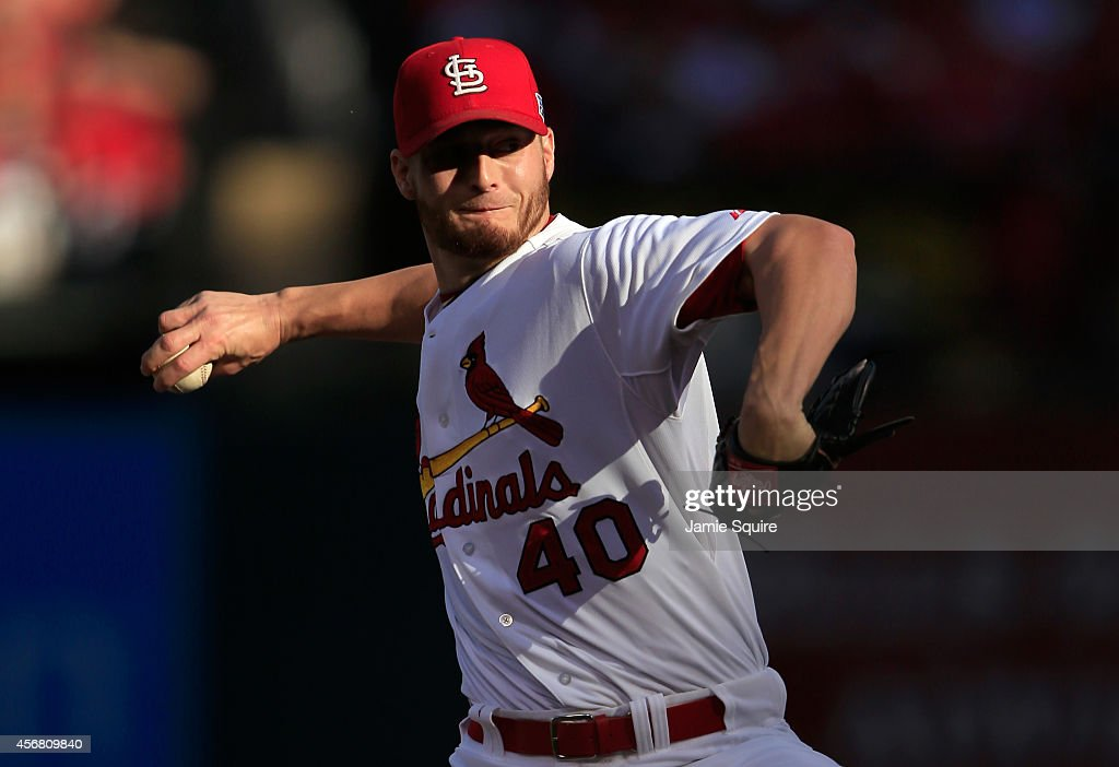 <a gi-track='captionPersonalityLinkClicked' href=/galleries/search?phrase=Shelby+Miller&family=editorial&specificpeople=4761626 ng-click='$event.stopPropagation()'>Shelby Miller</a> #40 of the St. Louis Cardinals pitches in the second inning against the Los Angeles Dodgers in Game Four of the National League Divison Series at Busch Stadium on October 7, 2014 in St Louis, Missouri.