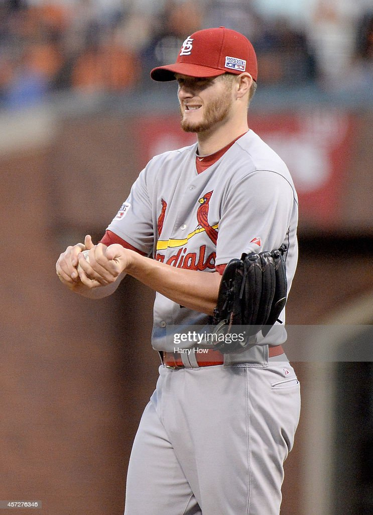<a gi-track='captionPersonalityLinkClicked' href=/galleries/search?phrase=Shelby+Miller&family=editorial&specificpeople=4761626 ng-click='$event.stopPropagation()'>Shelby Miller</a> #40 of the St. Louis Cardinals reacts in the third inning while taking on the San Francisco Giants during Game Four of the National League Championship Series at AT&T Park on October 15, 2014 in San Francisco, California.