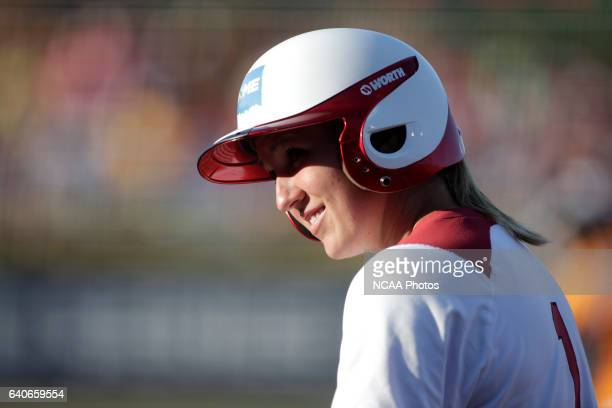 Shelby Pendley of the University of Oklahoma greets the umpire as she steps to the plate against the University of Tennessee during the Division I...