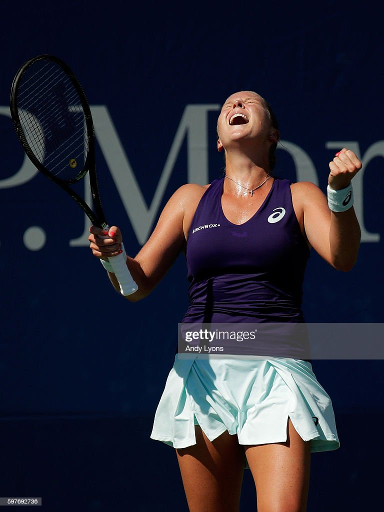Shelby Rogers of the United States reacts after her first round Women's Singles match victory over Sara Errani on Day One of the 2016 US Open at the...