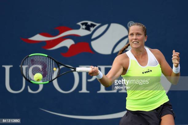 Shelby Rogers of the United States returns a shot against Daria Gavrilova of Australia during their second round Women's Singles match on Day Four of...