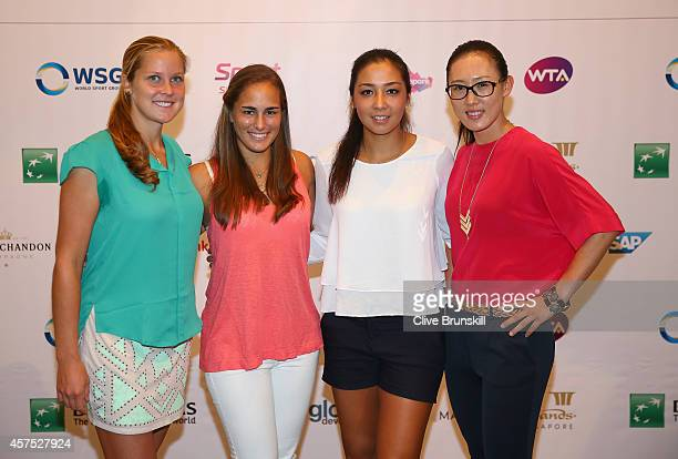 Shelby Rogers of the United StatesMonica Puig of Puerto RicoZarina Diyas of Kazakstan and Zheng Saisai of China pose for a group photograph during a...