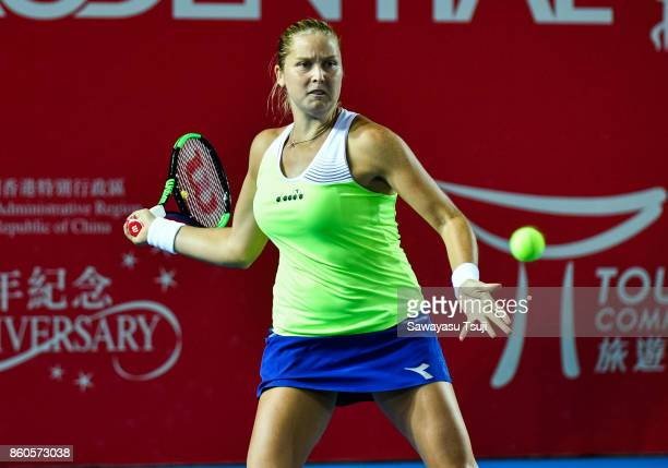 Shelby Rogers of United States in action during the Prudential Hong Kong Tennis Open 2017 women's double match between Yung Jan Chan and Hao Ching...