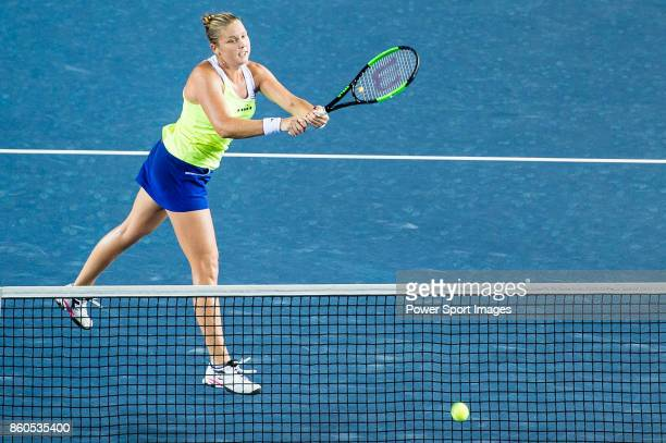 Shelby Rogers of USA in action during the Prudential Hong Kong Tennis Open 2017 women's double match between Shelby Rogers of USA and Eugenie...
